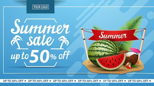 Soldes d'été, bannière horizontale à prix discount pour boutique en ligne Vecteur Premium