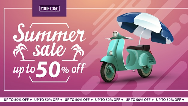 Soldes d'été, bannière horizontale à prix réduits Vecteur Premium