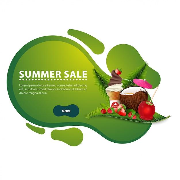 Soldes d'été, bannière de remise moderne sous forme de lignes lisses pour votre entreprise Vecteur Premium