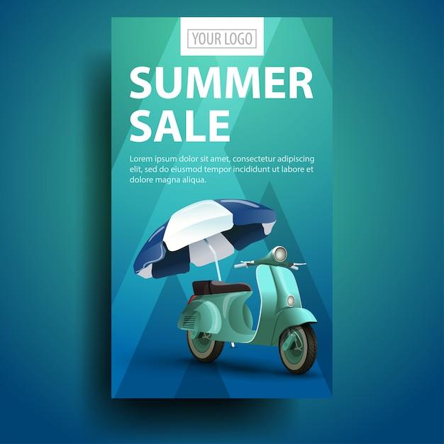 Soldes D'été, Bannière Verticale Moderne Et élégante Pour Votre Entreprise Vecteur Premium