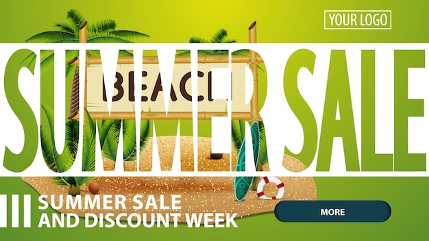 Soldes d'été, bannière web créative à rabais rose pour votre site web Vecteur Premium