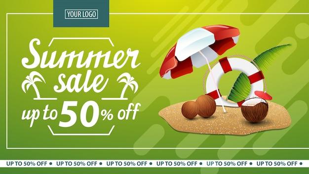 Soldes d'été, bannière web horizontale à prix réduit pour boutique en ligne Vecteur Premium