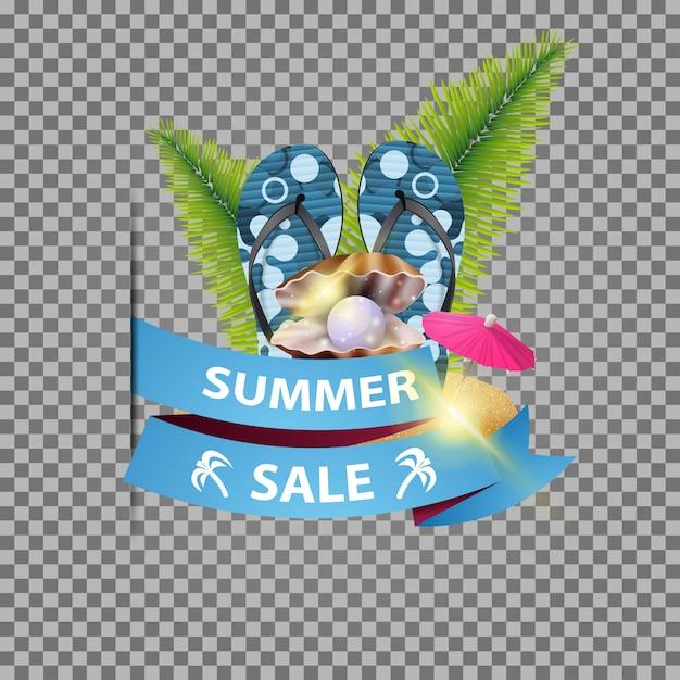 Soldes d'été, bannière web isolée avec ruban et tongs Vecteur Premium