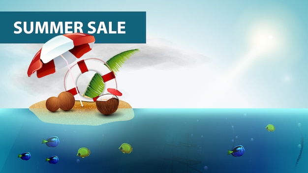 Soldes d'été, bannière web mer horizontale avec cocktail de noix de coco Vecteur Premium
