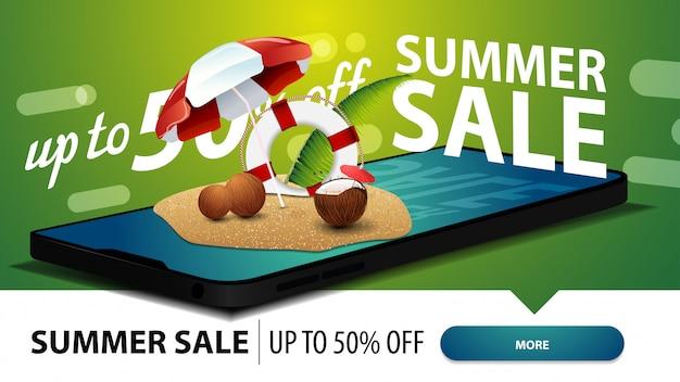 Soldes d'été, bannière web à prix discount moderne pour votre site web avec un smartphone Vecteur Premium