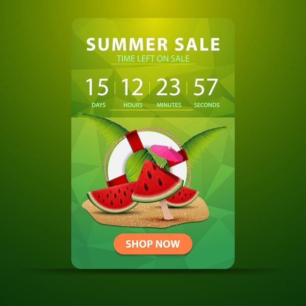 Soldes D'été, Bannière Web à Remise Verticale Pour Votre Site Web Avec Le Minuteur D'action Vecteur Premium