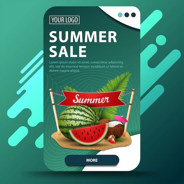 Soldes D'été, Bannière Web Verticale Avec Un Design Moderne Pour Votre Site Web Vecteur Premium