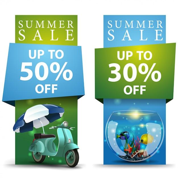 Soldes d'été, deux bannières à prix réduits Vecteur Premium