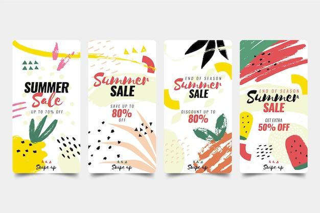 Soldes D'été De Fin De Saison Collection D'histoires Instagram Vecteur gratuit