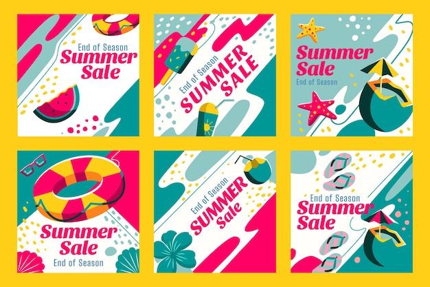 Soldes D'été De Fin De Saison Instagram Posts Collection Vecteur gratuit
