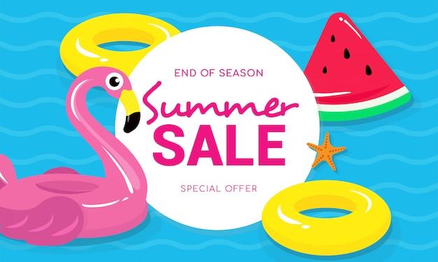 Soldes d'été avec illustration vectorielle flamingo Vecteur Premium