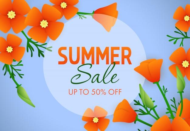Soldes d'été, jusqu'à cinquante pour cent d'écriture avec des fleurs Vecteur gratuit