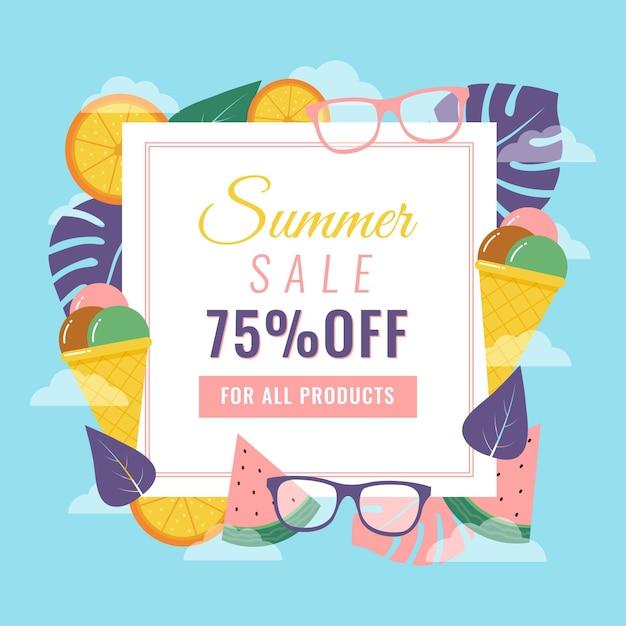 Soldes D'été Avec Lunettes De Soleil Et Glaces Vecteur gratuit