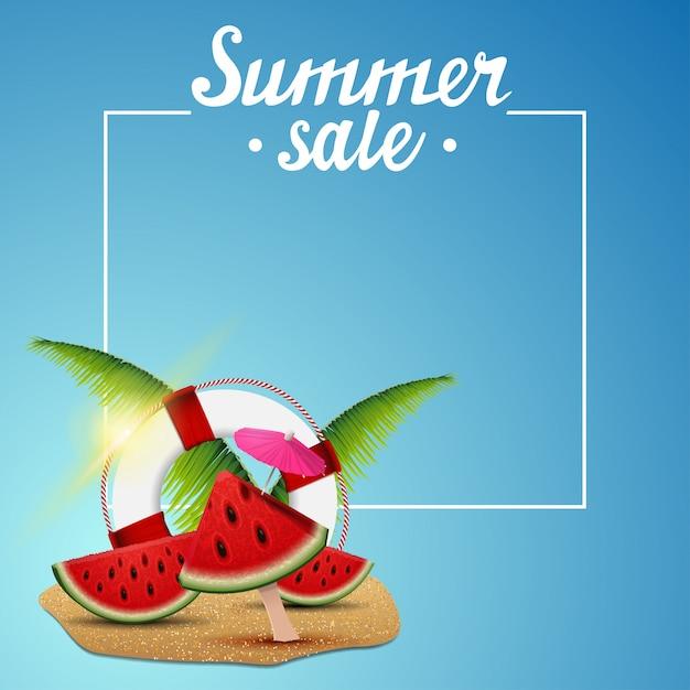 Soldes D'été, Modèle De Bannière De Remise Vecteur Premium