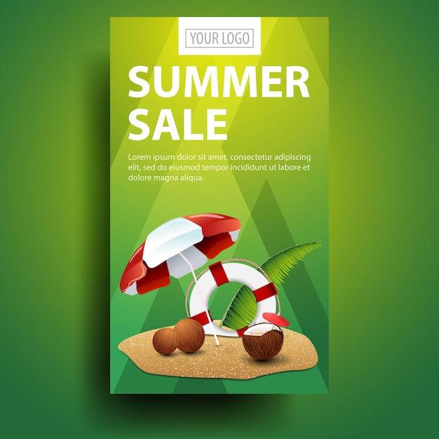 Soldes D'été, Modèle De Bannière Verticale Moderne Et élégant Vecteur Premium
