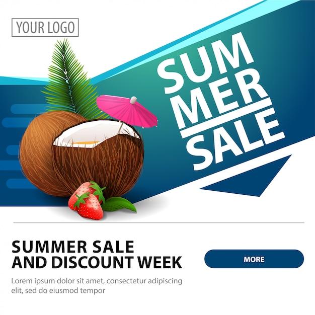 Soldes d'été, modèle de bannière web carré élégant et moderne pour la publicité et la promotion de votre entreprise Vecteur Premium