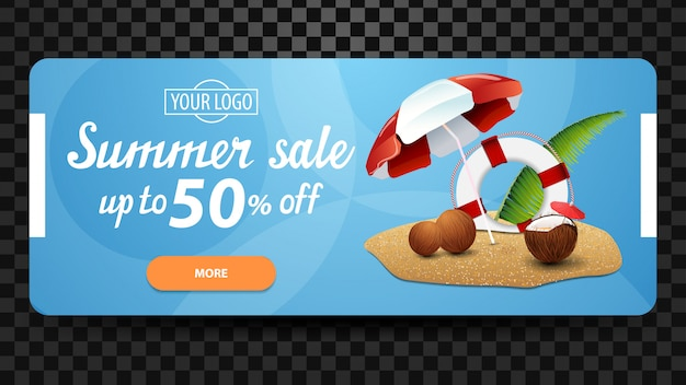 Soldes d'été, modèle de bannière web discount Vecteur Premium