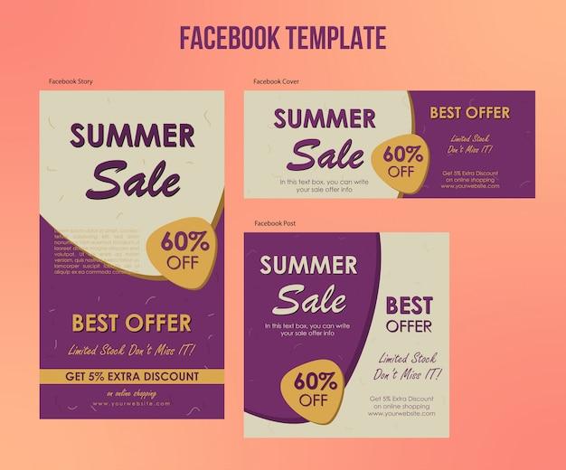 Soldes d'été offre des modèles facebook Vecteur Premium