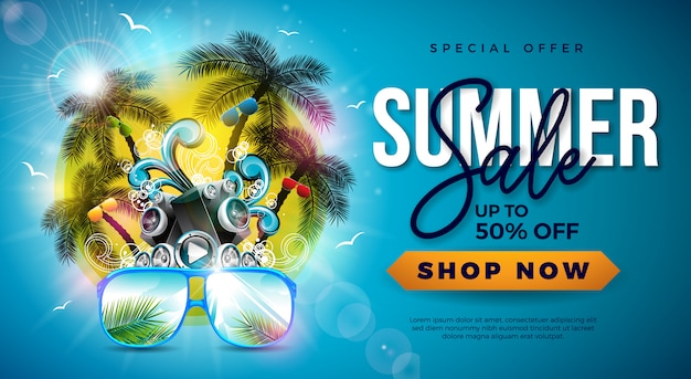Soldes d'été avec palmiers et lunettes de soleil Vecteur Premium
