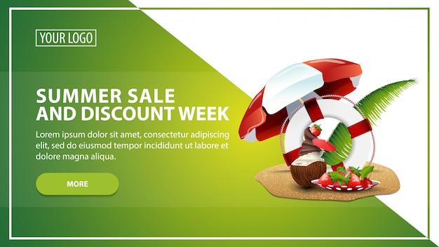 Soldes d'été et semaine d'escompte Vecteur Premium