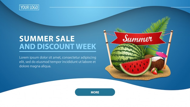 Soldes d'été et semaine de rabais, bannière web moderne pour site discount Vecteur Premium