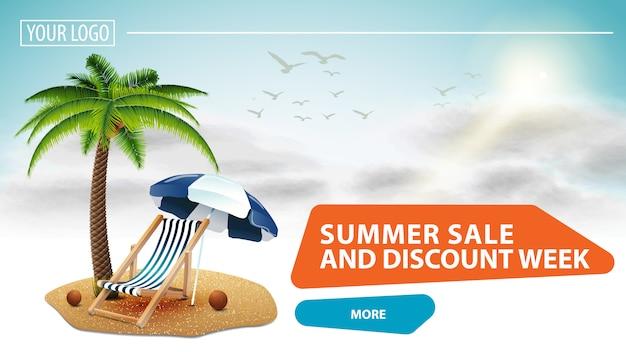 Soldes d'été et semaine de remise, bannière web cliquable pour votre site web Vecteur Premium