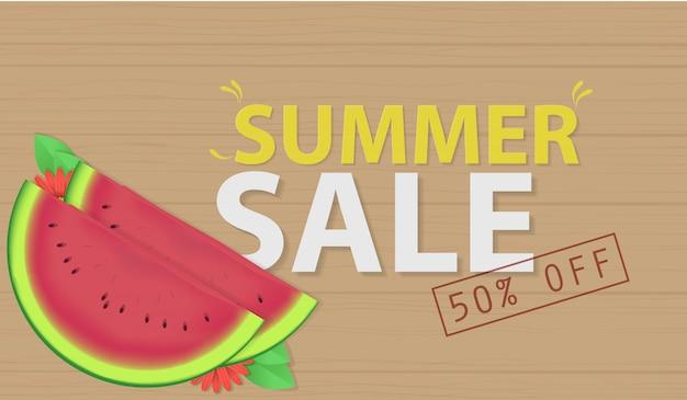 Soldes d'été avec le vecteur de la pastèque Vecteur Premium