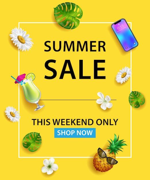 Soldes d'été ce week-end seulement magasinez maintenant lettrage. smartphone, cocktail, ananas Vecteur gratuit