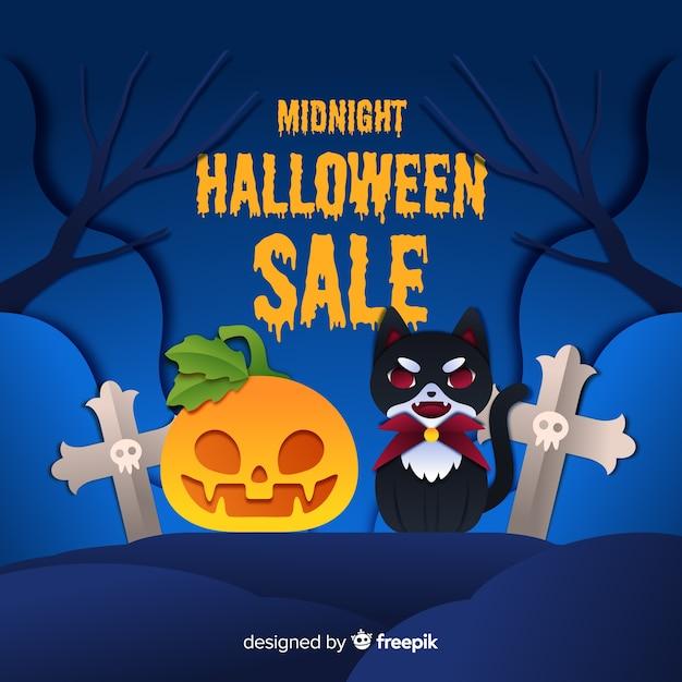 Soldes d'halloween avec chat vampire et citrouille Vecteur gratuit