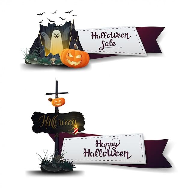 Soldes d'halloween, deux bannières à prix réduits sous la forme de rubans avec portail avec fantômes et citrouille jack Vecteur Premium