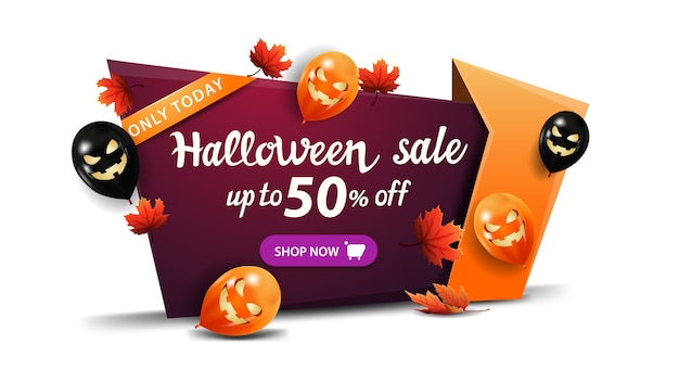 Soldes D'halloween, Jusqu'à 50% De Réduction, Bannière De Remise Horizontale En Style Cartoon Avec Ballons D'halloween, Feuilles D'automne Et Bouton Vecteur Premium