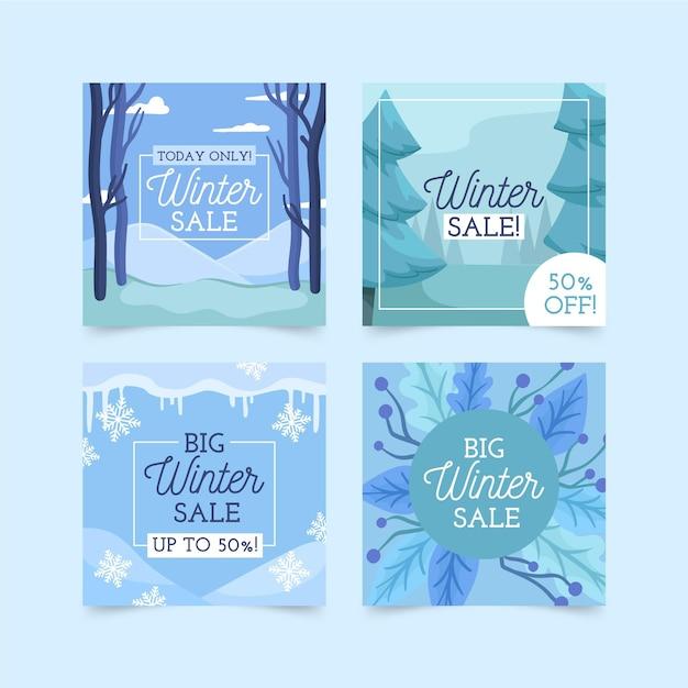 Soldes D'hiver Instagram Posts Vecteur Premium