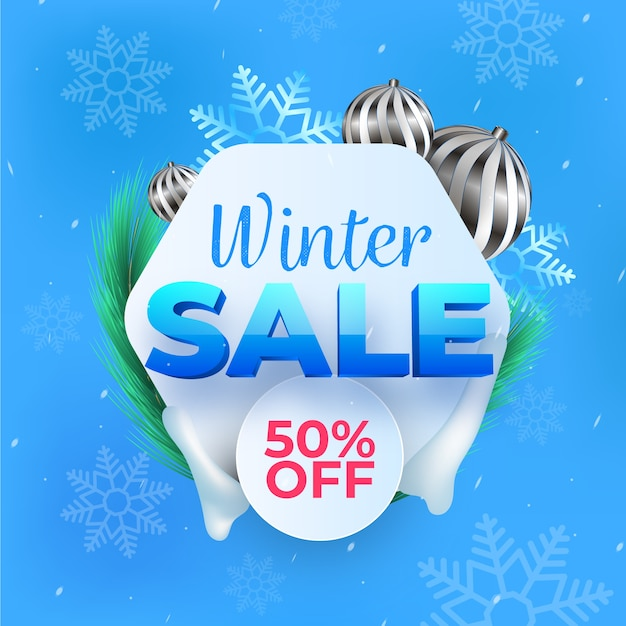 Soldes d'hiver réalistes avec une remise spéciale Vecteur gratuit