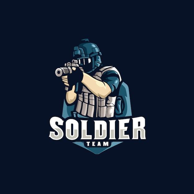 Soldier esports logo gaming Vecteur Premium