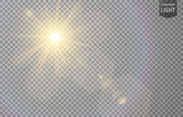 Soleil abstrait brille avec une lumière parasite Vecteur Premium