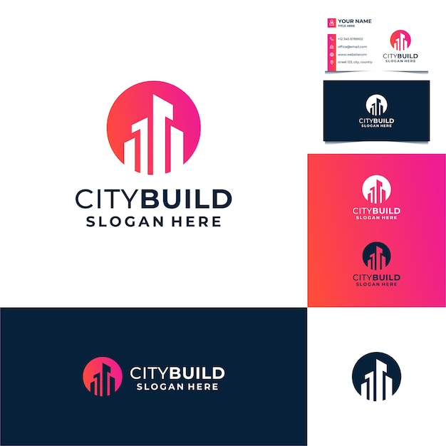 Soleil, Cercle Avec Création De Logo De Bâtiment, Ville, Immobilier, Architecture Avec Modèle De Carte De Visite Vecteur Premium