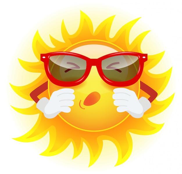Soleil d'été dans les lunettes de soleil éternuant. allergie, climat, maladie, froid. Vecteur gratuit