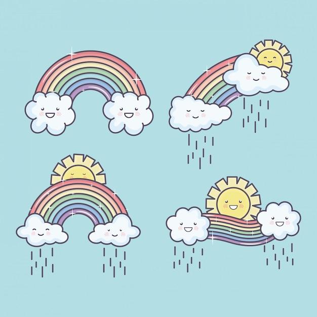 Soleil d'été mignons et nuages pluvieux avec personnages kawaii arc-en-ciel Vecteur gratuit