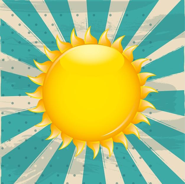 Soleil sur illustration vectorielle fond aigue-marine grunge Vecteur Premium