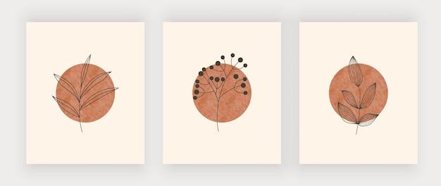 Soleil Avec Impression D'art De Mur De Feuilles. Affiches De Design Boho Mid Century Vecteur Premium