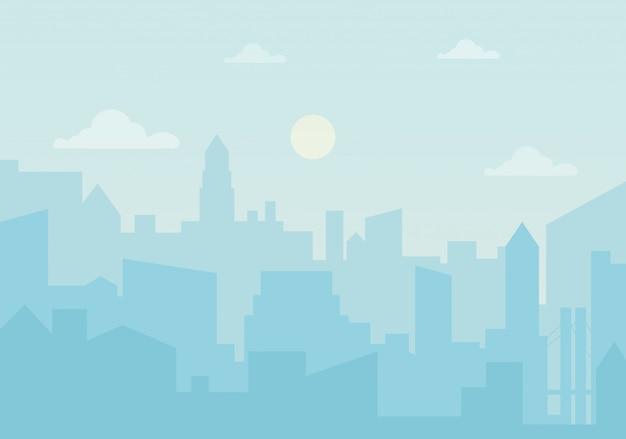 Soleil jour ozone dans la ville Vecteur Premium