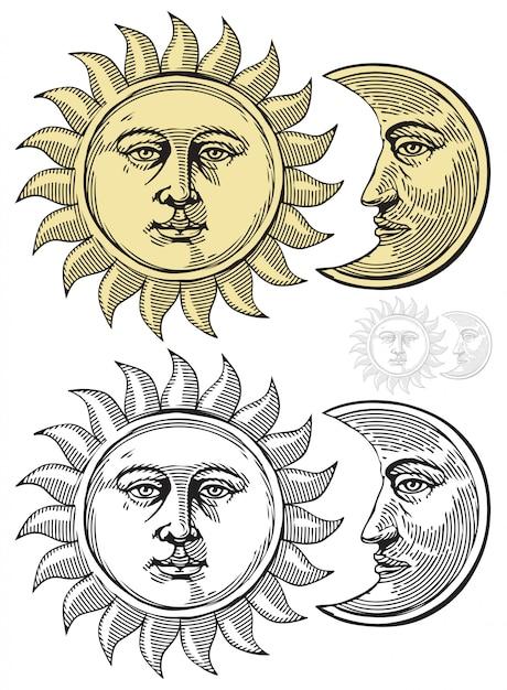 Soleil et lune avec des visages Vecteur Premium