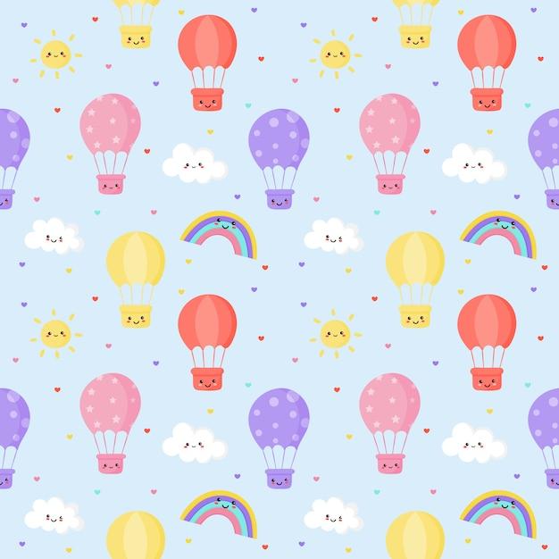 Soleil Modèle Sans Soudure, Ballon, Arc En Ciel Et Nuages. Fond D'écran Kawaii Vecteur Premium