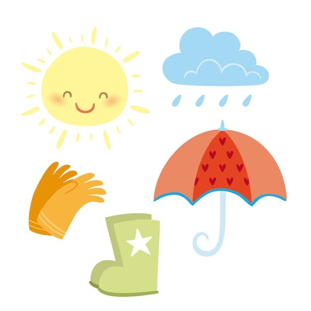 Soleil et pluie Vecteur Premium