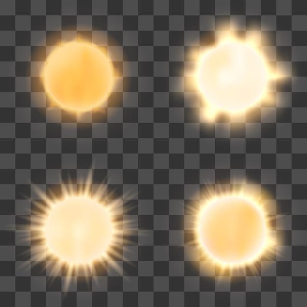 Soleil réaliste sur fond transparent Vecteur Premium
