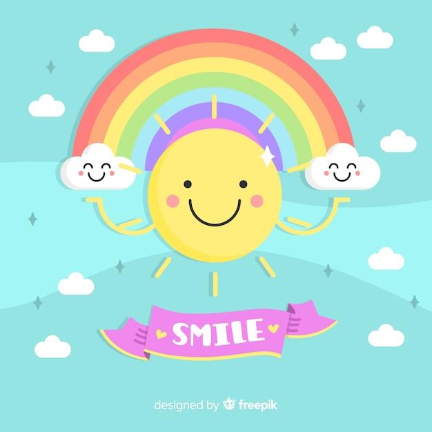 Soleil souriant fond Vecteur gratuit