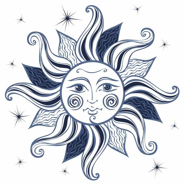 Soleil. style vintage. astrologie. style boho. Vecteur Premium