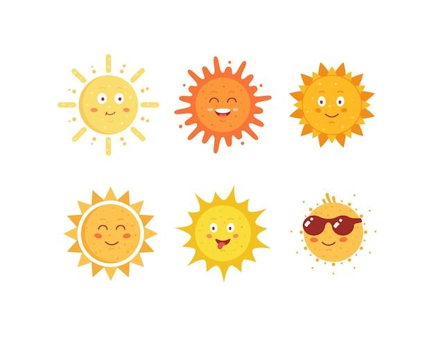 Soleils Drôles Dessinés à La Main. Jeu D'icônes D'émoticônes Soleil Mignon. Collection D'emoji De Visages Ensoleillés D'été. Vecteur Premium