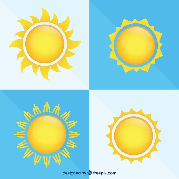 Soleils lumineux Vecteur gratuit