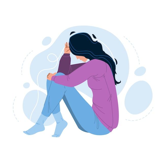 La Solitude Malheureuse Femme Assise Sur Le Sol Vecteur Premium